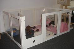Kittenren 90 hoog met kittenluikje. Kitten nursery