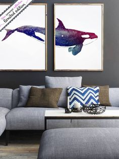 Set of 2 Orca Watercolor Orca Wall Art Orca for sale Orca by LadyWatercolor   Etsy #watercolor #fish #orca #whale #fishing #art #set #baby #painting #wild #biology #animal #marine #ocean #wall