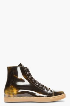 MARC JACOBS Dark Brown Patent Leather Gold-Brushed Sneakers