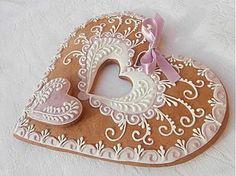 Dekorácie - Medovníkové Srdce z lásky, veľké 18 cm - 3585053