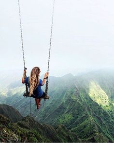 Swing at the top of The Haiku Stairs in Oahu, Hawaii By @caressame