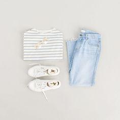 Soft Stripe Tee, Blue and Rb Light Blue Denim Jean, Blue, Lambs Wool Socks, Ivory
