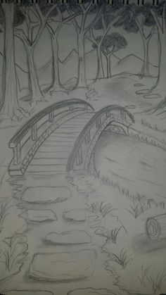 Brücke Brücke The post Brücke appeared first on Frisuren Tips. Easy Pencil Drawings, Landscape Pencil Drawings, Landscape Sketch, Cool Art Drawings, Art Drawings Sketches, Beautiful Drawings, Landscape Art, Drawing Ideas, Easy Nature Drawings