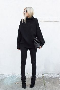 i like the ease of all black. the bulky sweater with the slim leg is nice too. looks easy and cozy. although in my house this would end up covered in dog hair...