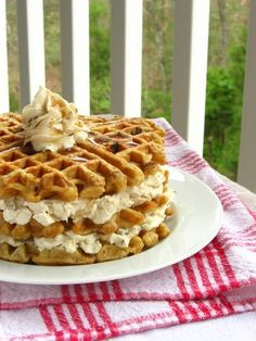 Carrot Cake Waffles with Maple Nut Cream Cheese Spread Recipe & Tutorial. Need I say more....