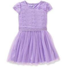 Healthtex Toddler Girls' Bow Detail Tulle Dress, Toddler Girl's, Size: 4 Years, Purple