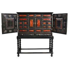 18k Period Baroque Ebony and Tortoise Vargueno or Cabinet on Stand 18k | From a unique collection of antique and modern cabinets at http://www.1stdibs.com/furniture/storage-case-pieces/cabinets/