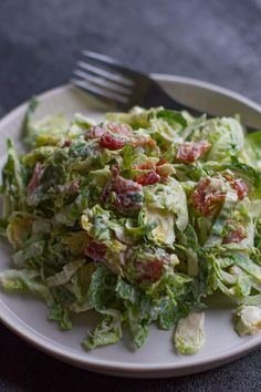 Just as delicious as a typical caesar salad, just made with shaved brussels sprouts! If you love a good caesar, give this one a try!