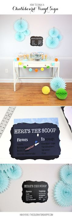 How To:  Make a fun DIY chalkboard sign for your ice cream social!