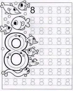 New System-Suitable Numbers Line Study - Preschool Children Akctivitiys Preschool Writing, Numbers Preschool, Preschool Curriculum, Math Numbers, Preschool Printables, Kindergarten Worksheets, Preschool Activities, Homeschooling, Tracing Worksheets