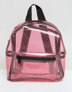 Missguided Transparent Glitter Backpack