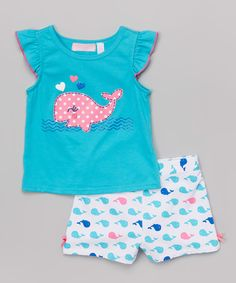 Blue Whale Top & White Shorts - Infant & Girls