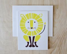 Lion Screenprinted Card