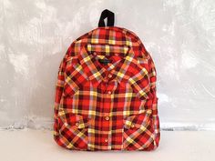 Cotton backpack Plaid red backpack Rare backpack by YouNeedEco