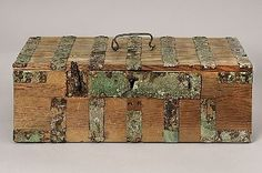 Viking chest from grave in Sweden. Iron and bronze details.