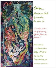 Sirene Mermaid in a Bottle Collage By Heine, Laura - Features fused applique. Full sized pattern and complete color step by step instruction. Size 44 x Wool Quilts, Mini Quilts, Laura Heine, Mermaid Quilt, Applique Quilt Patterns, Keepsake Quilting, Quilting For Beginners, Quilted Wall Hangings, Amazon Art