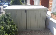 Secure 3 bike storage shed, perfect for front garden. Outdoor Bike Storage, Bicycle Storage, Farmhouse Sheds, Velo Retro, Corner Sheds, Shed Construction, Firewood Shed, Build Your Own Shed, Gardens