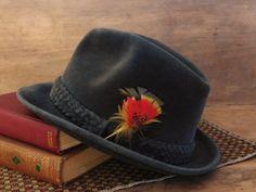 Men's Velour Borsalino Fedora Hat Heather by LittleDixieVintage