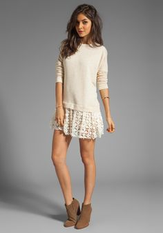 FREE PEOPLE Shake It Up Pullover Dress in Oatmeal - Dresses