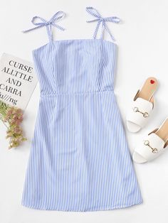 Knot Shoulder Striped Cami Dress - Knot Shoulder Striped Cami DressFor Women-romwe Source by geereimann - Teen Fashion Outfits, Outfits For Teens, Girl Fashion, Fashion Dresses, 80s Fashion, Fashion Tips, Cute Casual Outfits, Girly Outfits, Cute Summer Outfits