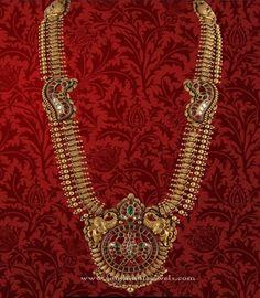 Gold Antique Long Haram Sets from P.Satyanarayan