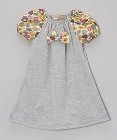 Love this Lele Vintage Gray Floral Bow Peasant Dress - Toddler & Girls by Lele Vintage on #zulily! #zulilyfinds