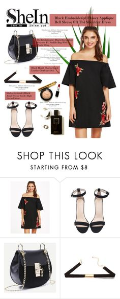"""""""SHEIN - Black Embroidered Flower Applique Bell Sleeve Off The Shoulder Dress"""" by miss-maca ❤ liked on Polyvore"""