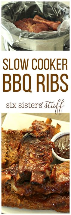 Slow Cooker BBQ Ribs on SixSistersStuff.com - so easy to make and so delicious!