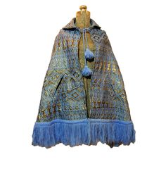 Vintage 1960s Cape - 60s Jacket Blue Gold Metallic Mod Twiggy Geometric Ethnic Brocade Tapestry Carpetbag. $40.00, via Etsy.