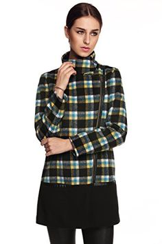 FINEJO Womens Winter Lapel Plaid Wool Outerwear Coats ** Continue to the product at the image link.