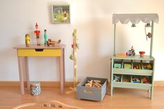 Wooden toy play market. If I had a toy shop...macarenabilbao.com #woodentoy #woodenplaymarket #wooden play stall #macarenabilbao