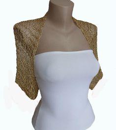 Knit Gold Bolero Shrug Sleeves Jacket, Wedding Bolero,  S-M/ US ,Wedding shrug, Weddings, Bridal, Women For her