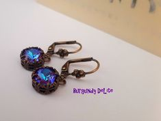 Antique Bronze Jewelry / Burgundy DeLite Drop Swarovski Earrings / Crystal Chatons/ Lever back 8mm Filigree Setting / Girls Birthday Gift Stones And Crystals, Bronze Jewelry, Swarovski Crystal Earrings, Birthday Gifts For Women, Affordable Jewelry, Burgundy, Photo Jewelry, Fashion Earrings, Drop