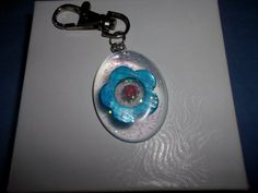 Clear Resin with Blue Flower and Coral Rose Keychain by missy69