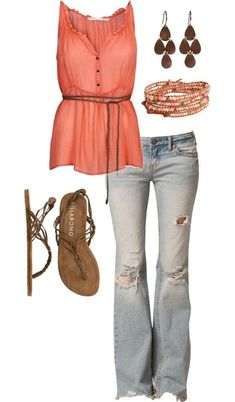 Coral - love this whole look. Really like the distressed jeans and the belted top.