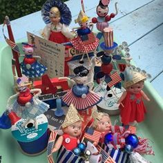 The Fourth of July parade is slowly growing! Patriotic crafting in the studio. #vintagefourthofjuly #headingtoetsyeventually #vintagepatriotic #thingsimake