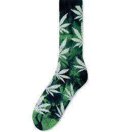 HUF  Lime/Navy Tie-dye Plantlife Crew Socks