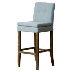 Check out this item at One Kings Lane! Chandler Linen Barstool, Light Blue