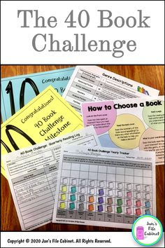 The 40 Book Challenge encourages students to take ownership of their own reading, to help expand knowledge of genres, and to improve reading levels through daily independent reading. Print from a PDF or customize it in PowerPoint. English Teaching Resources, Reading Resources, Reading Strategies, Reading Activities, Teaching Reading, Reading Comprehension, Comprehension Strategies, Teaching Ideas, Third Grade Writing