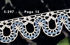 Beautiful edging detail with instructions on how to crochet on store-bought ric rac {Rick Rack Edging No. S297 Pattern}