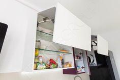 Bucătărie Grape - Mobilier La Comandă - Fabrică București Bathroom Medicine Cabinet, Shelves, Kitchen, Design, Home Decor, Shelving, Cooking, Decoration Home, Room Decor
