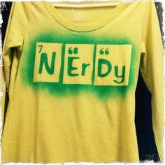 Periodic table t-shirt-  cut out stencil then spray with fabric spray paint