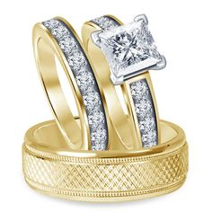 9kt Yellow Gold Finish Over Princess Rd Solitaire Diamond 6.00 MM Trio Ring Set #br925silverczjewelry #SolitaireWithAccentsRing