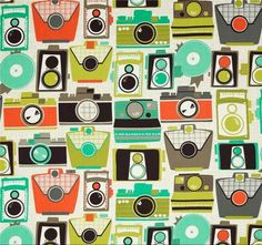 Michael Miller Cameras Jewel from Designed for Michael Miller, this cotton print fabric. Colors include orange, seafoam, olive, grey and dark brown on a khaki and ivory background. Tissu Michael Miller, Michael Miller Fabric, Laminated Fabric, Printing On Fabric, Sewing Crafts, Sewing Projects, Backgrounds Wallpapers, Retro Camera, Retro Fabric
