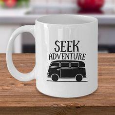 VW Van ceramic coffee mug Seek Adventure go camping in a vw