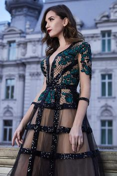 Cristallini - Embroidered Plunging A-Line Dress – Couture Candy Elegant Dresses, Pretty Dresses, Beautiful Dresses, Mini Dresses, Couture Dresses, Fashion Dresses, Fantasy Dress, Couture Fashion, Fashion Goth