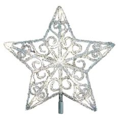 12 in. 18-Light LED Silver Acrylic Five Star Tree Topper-TF06-1W012-A - The Home Depot