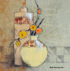"(c) Bob Pennycook ""Yellow Vase"" acrylic, newsprint, charcoal, graphite, painted paper"