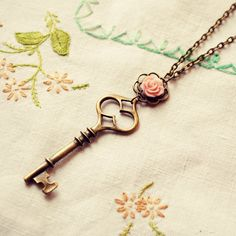Pink Rose and Key Necklace by DearDelilahHandmade on Etsy