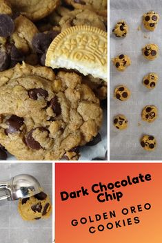 Homemade Dark Chocolate Chip Golden Oreo Cookies are a twist on Cookies N Creme recipe using Golden Oreos and Dark Chocolate Chips. Basic Cookie Recipe, Ginger Bread Cookies Recipe, Cookie Dough Recipes, Biscotti Recipe, Oatmeal Cookie Recipes, Holiday Cookie Recipes, Peanut Butter Cookie Recipe, Easy Desserts, Dessert Recipes